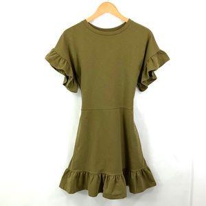 H & M Midi Dress Split Pea Olive Green Size 6 F10